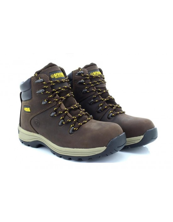 Apache Nelson Industrial Dark Brown 6 Eyelet Steel Toe Boots Heavy Duty