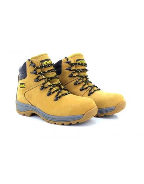 Apache Nelson Industrial Wheat 6 Eyelet Steel Toe Boots Heavy Duty