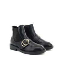 New AW17 Truffle Black PU Embossed Double Ring Buckle Chelsea Boots