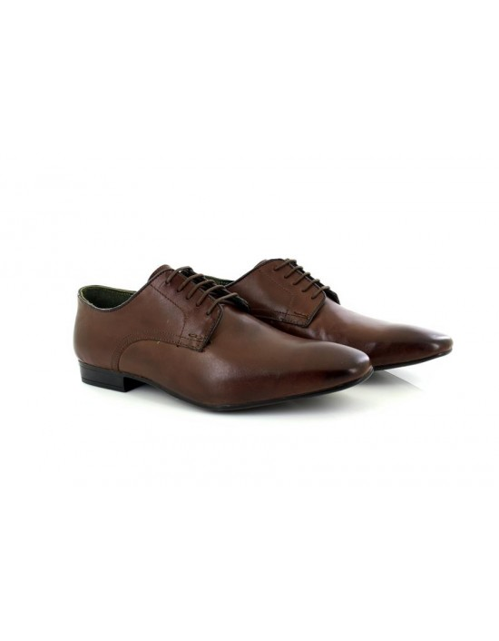 Silver Street London BAKER Mens Choco Brown Leather Lace Up Longwing Coloured Trim Shoes