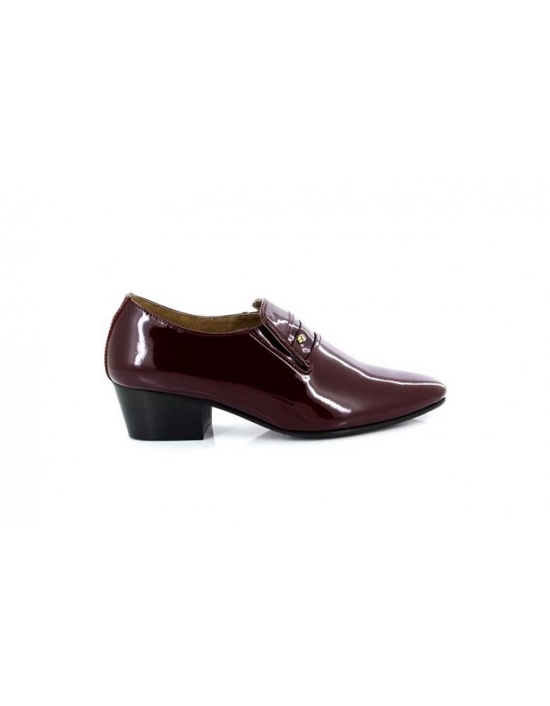 134c267d4b3 Mens Lucini Burgundy Leather Cuban Heel Patent Shoes