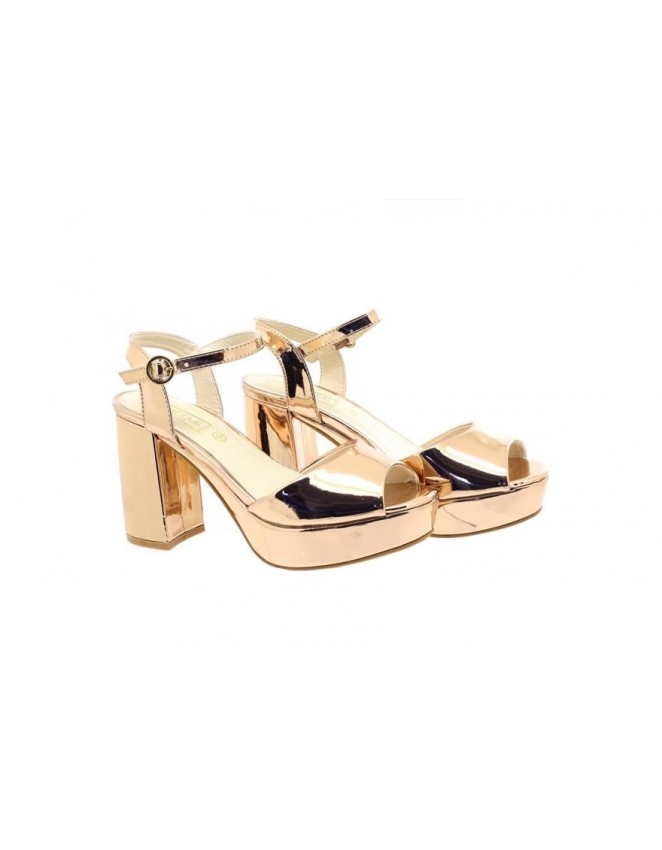 f2b13bf4ed Ladies Truffle Collection Exclusive Rose Gold Block Heel Sandals