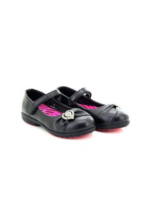 Girls Back To School Formal Black Casual Slip on Shoes By Chix
