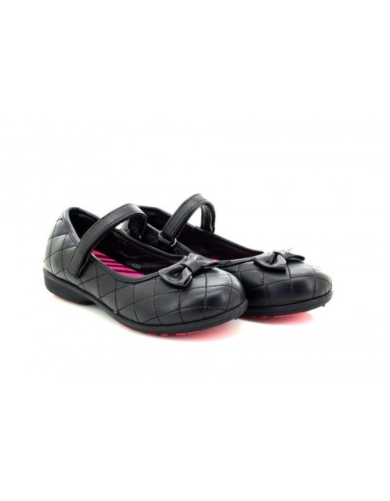 Girls Kids Black Casual Quilted Velcro Strap School Shoes By Chix
