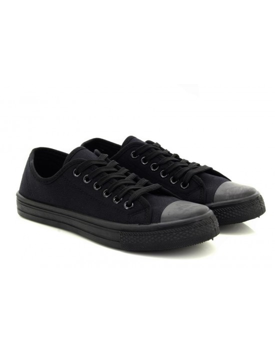Girls All Black Canvas Style Lace Up Pumps Trainers
