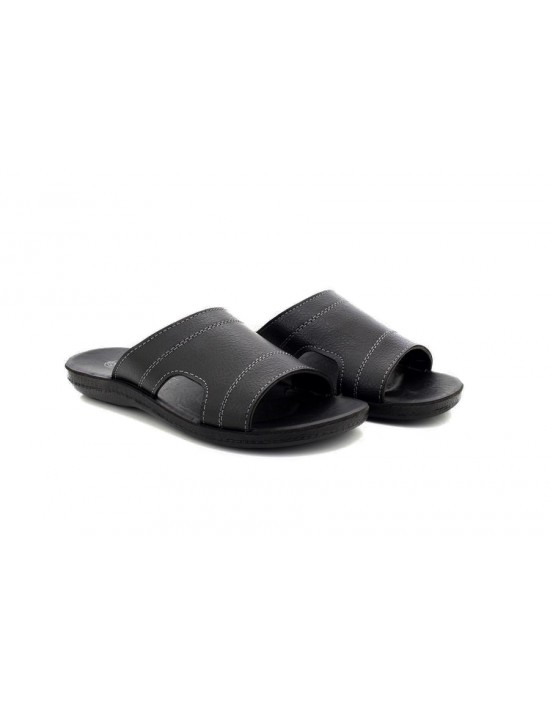 Mens Mayfair Comfortable Black Mule Sandals Grey Stitching Features