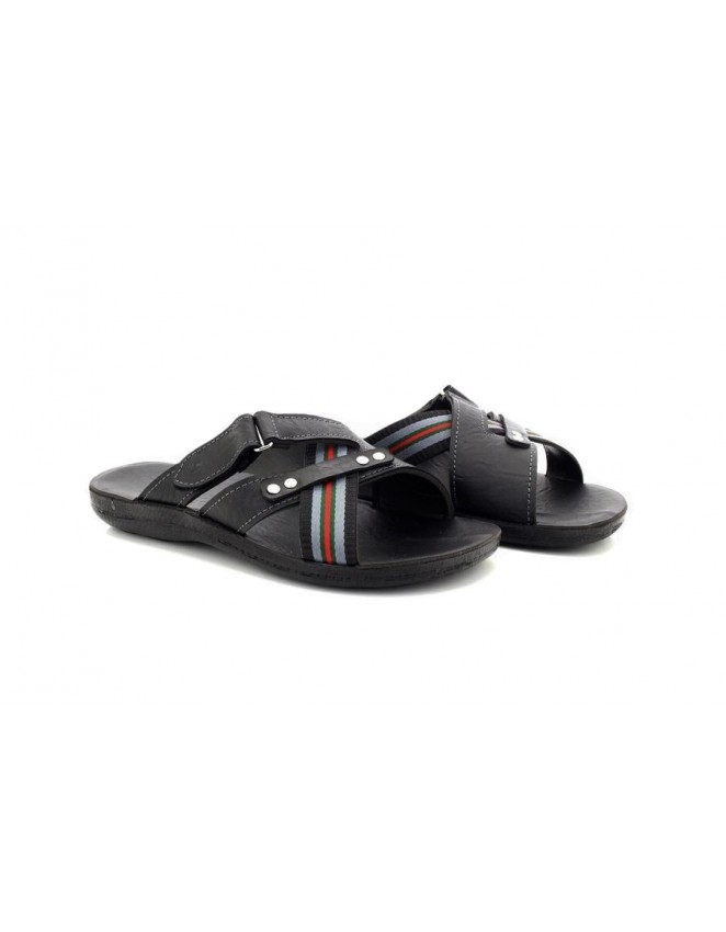 Men's Bellagio Black Slip On Mule With Touch And Fasten Walking Summer Beach Mules