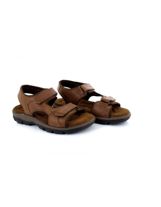 Mens Roamers M262 Tan Waxy Leather Twin Touch Fastening Sandals