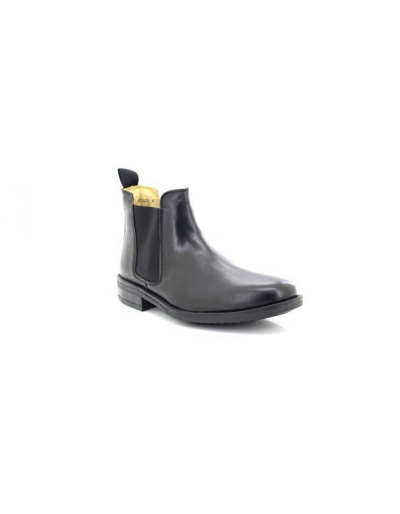 Roamers Twin Gusset Chelsea Padded Ankle Boots Black Leather