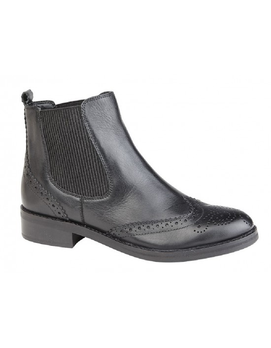 Cipriata L5042A Ladies Black Leather Brogue Ankle Boots