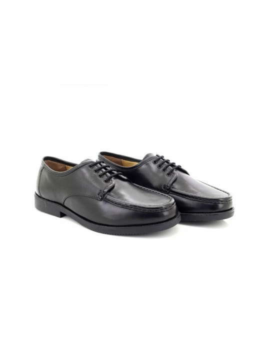 Luciniitaliano Mens Leather Lace-Up Moccasin Toe Shoes Black Smart Work Casual