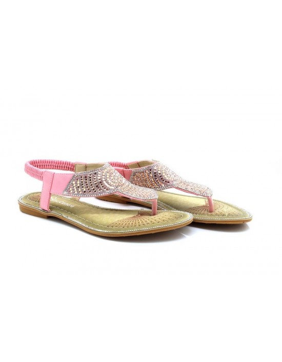 Womens Ladies Pink/Silver Flat Toe Post T-Bar Diamante Beaded Slingback Elasticated Strap Sandals