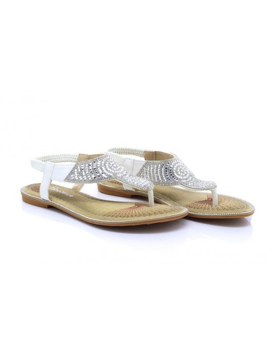 Womens White/Silver Flat Toe Post T-Bar Diamante Slingback Elasticated Strap Sandals