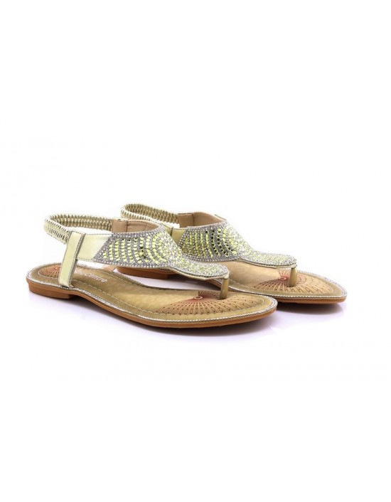 Womens Ladies Gold/Silver Flat Toe Post T-Bar Diamante Beaded Slingback Elasticated Strap Sandals