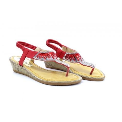de973497de35 ShuCentre Red Silver Diamante Elasticated Summer Wedge Sandals