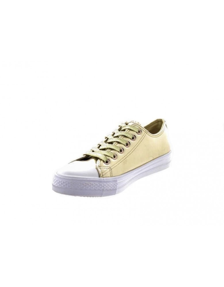 Ladies Low Top All Star Metallic Gold Glitter Lace Up Canvas Trainers