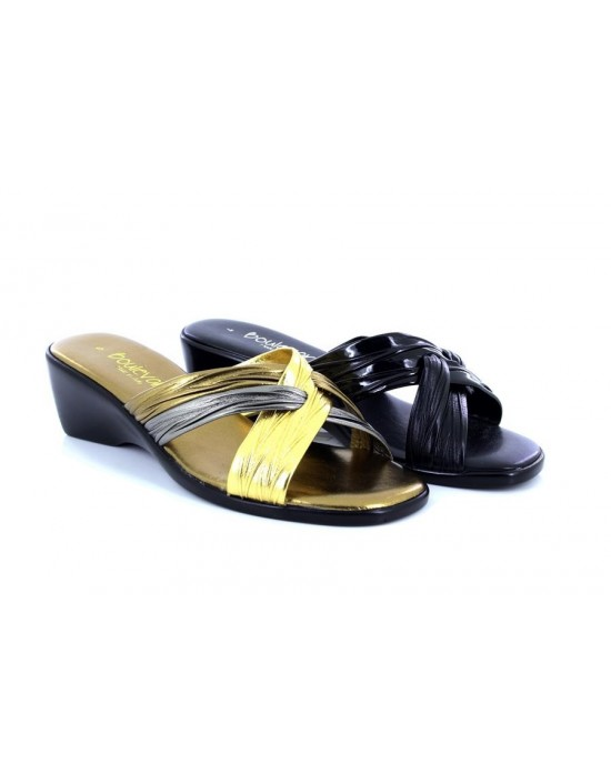 Boulevard Ladies Italian Cross Strap Summer Mule Sandals