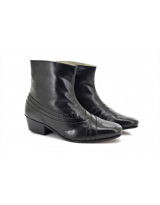 Montecatini Mens Cuban Heel Italian Reptile Leather Boots