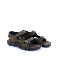 Mens Gold Step Brown Twin Touch Fastening Elasticated Sandals