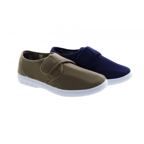 Scimitar M251Touch Fastening Denim Casual Comfort Padded Summer Shoes Navy Blue
