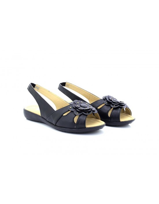 Ladies Natrelle Patricia Black Flower Stud Slingback Sandals