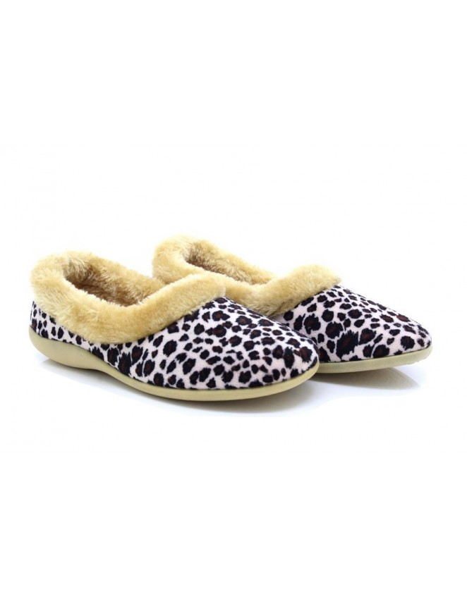 db25f958b468 Dunlop PENNY LS314 ladies Fur Collar Leopard Full Slippers