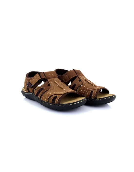 Mens PDQ M246 Brown Sandals PDQ Touch Fastening Leather