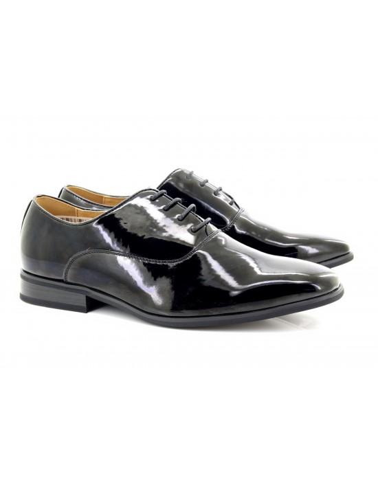 Mens Goor M710A Black Patent Oxford Lace Up Shoes