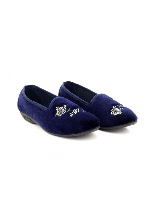 Ladies Comfort Zedzzz CELIA Embroidered Tab Full Slippers