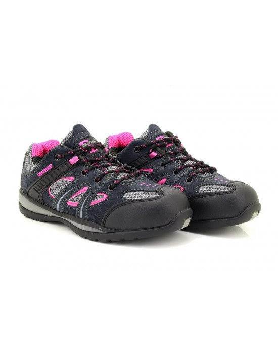 Ladies Grafters Grey Fuchsia Safety Toe Cap Trainer Shoes