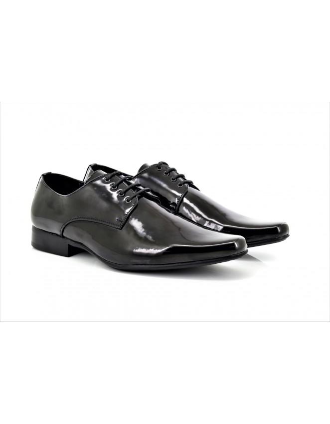 6b20cbcbaa23 Goor M046A Mens Smart Black Patent Pointed Toe Shoes