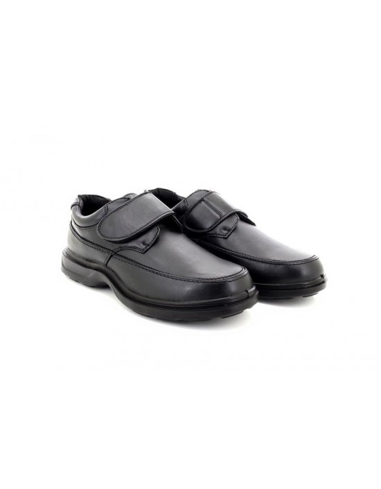 Mens Dr Keller Wide Shoes Slip On Touch Faux Leather Black Comfy Casual Office