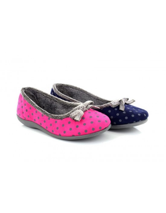 Sleepers LOUISE Polka Dot Bow Memory Foam Indoor Slipper