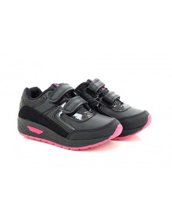 Girls Dek T851 Faith Black Pink Touch Fastening Trainer Shoes