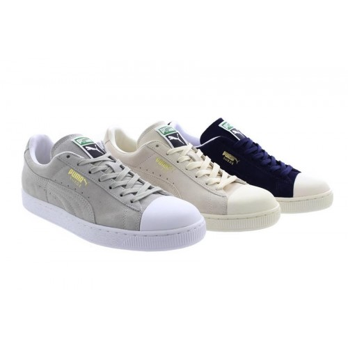 huge discount 70e24 9d103 Details about Unisex Puma Suede Classic Trainers Navy Grey Whisper White