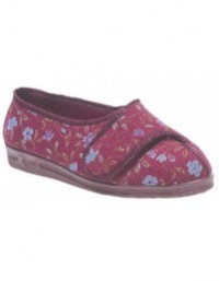 Comfylux Davina LS667 Floral Printed Extra Wide Touch Fasten Slippers