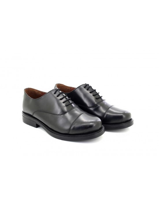 Scimitar M620A Mens Black Plain Leather Capped Oxford Cadet Shoes