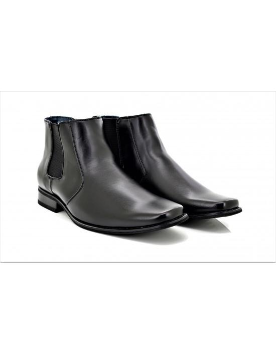 Mens Goor Black Square Toe Chelsea Ankle Boots