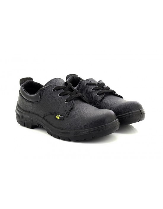 Mens Grafters Black Grain Leather Safety Toe Cap Shoes