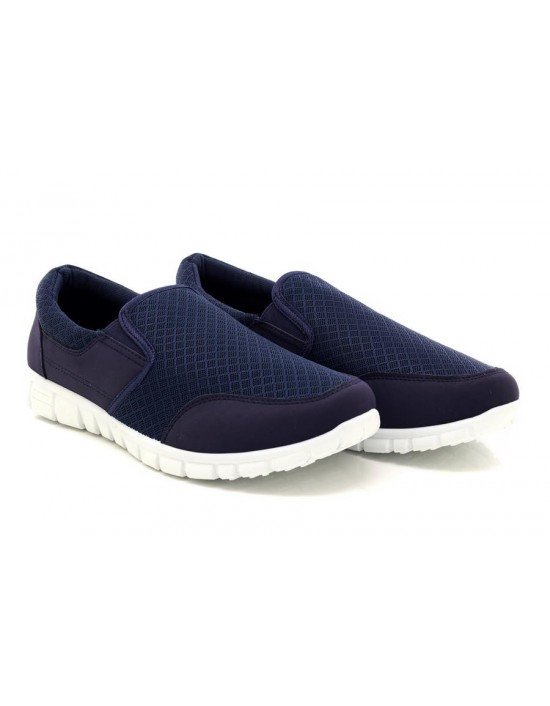 Coastal Mens Navy Memory Sock Comfort Driving Leisure Canvas Shoes