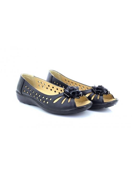 Womens Cherag Black Flower Open Toe Vented Comfort Sandals