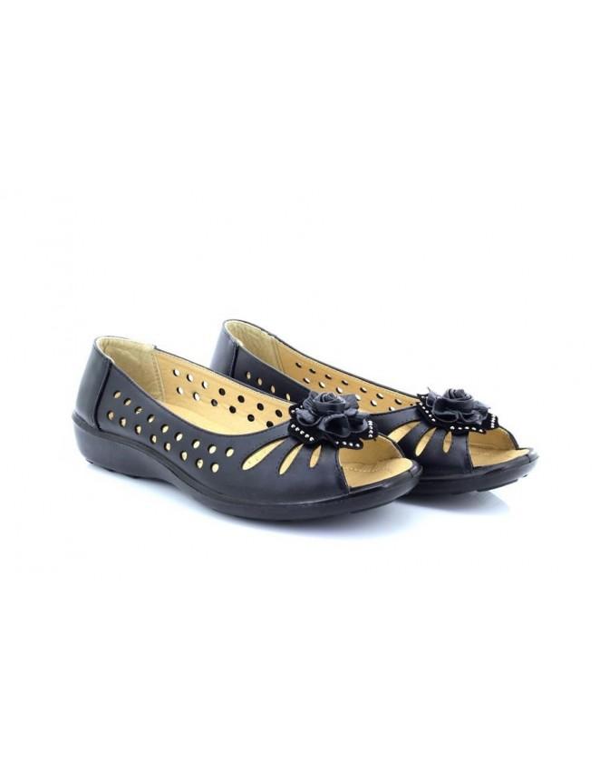 ShuCentre Cherag Bow Diamante Open Toe Summer Black Vented Shoes