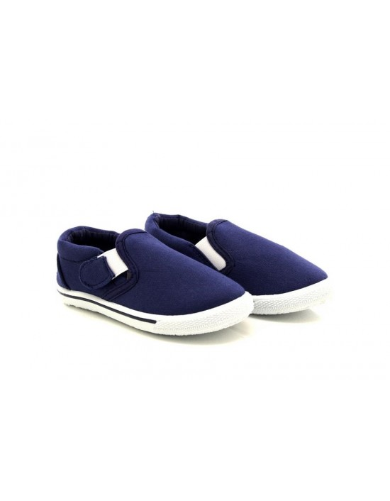 Charlie Navy Twin Gusset Boys Yachting Touch Fastening Strap Dek Canvas Shoes
