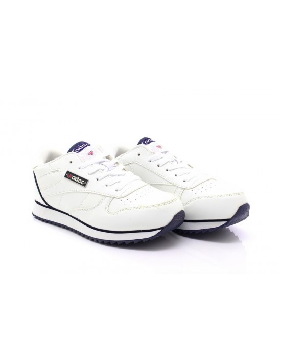 Ador Classic Unisex Lace Up All White Sporting Casual Running Trainers