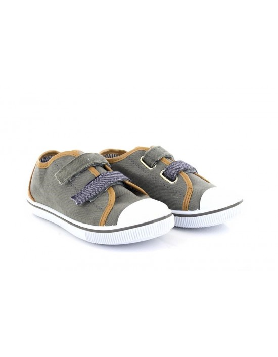 Kids Khaki Grey Denim Twin Velcro Summer Canvas Trainers