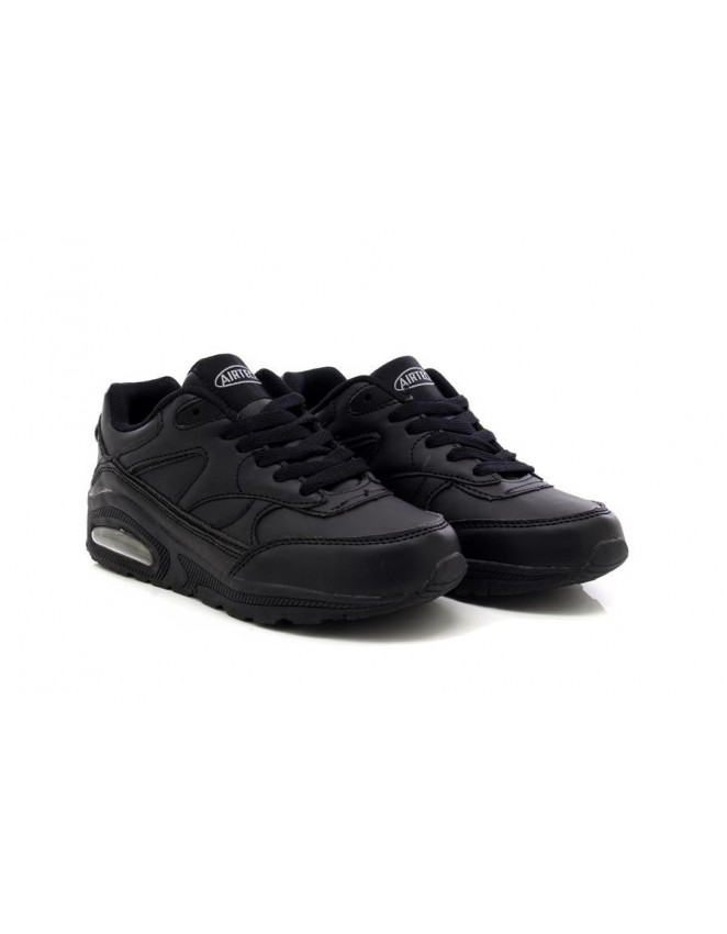 Airtech Unisex Max Air Cushion All Black Lace Up Running Trainers