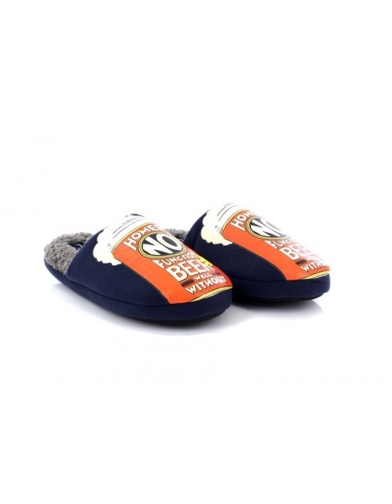 Official Homer Simpsons Duff Beer Chaplin Navy Grey Fur Line Novelty Slippers