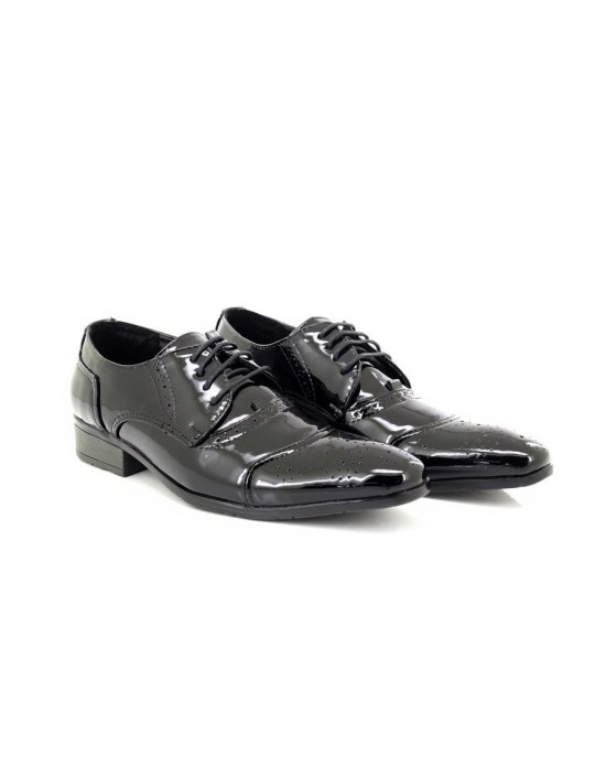 ShuCentre Mens Andy Black Patent Classic Brouge Lace Smart Wedding Party Shoes
