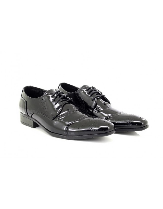 Mens Goor Black Patent Pointed Lace Up Fashion Smart Wedding Party Shoes