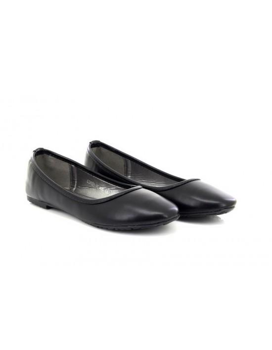 Ladies Girls Plain Black Flat Slip on Ballerina Ballet Dolly Style Pumps